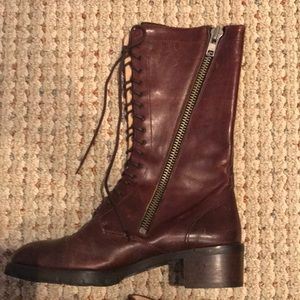 Joan & David Leather mid calf boots size 6